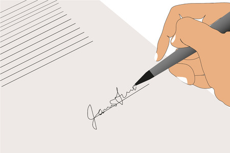 signing: sign contract background Illustration