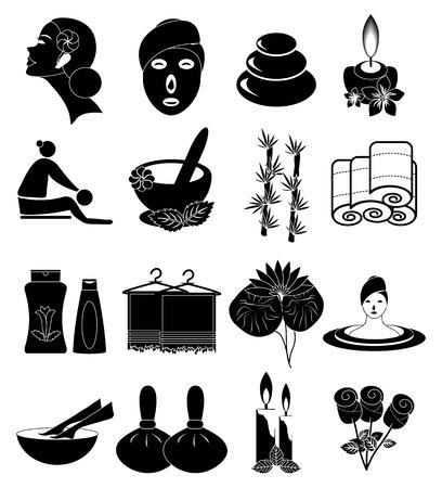 facial massage: Spa icons set