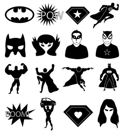Iconos de superhéroes establecen Ilustración de vector