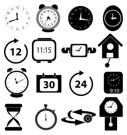 Alarm time clock icons set Illustration