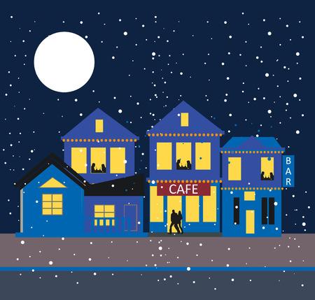 winter cafe background Illustration
