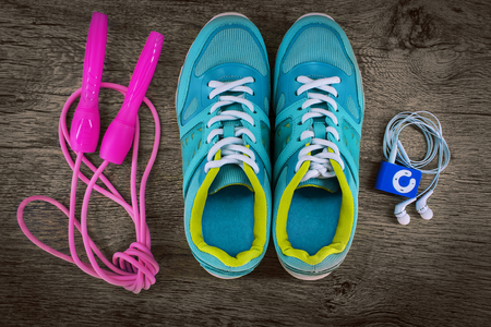 jump rope: sports shoes and a jump rope