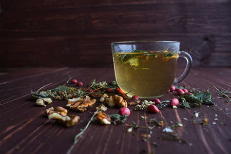 cold cure: herbal tea in a transparent glass Stock Photo