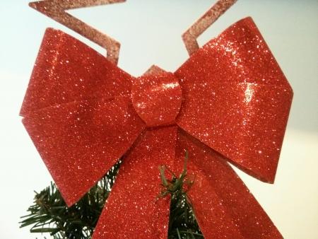 Shining ribbon on Christmas tree