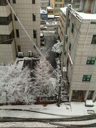 Cold city fill with snow. Banco de Imagens