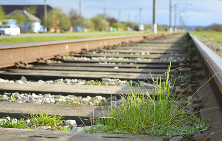 distance: railway stretches into the distance Stock Photo