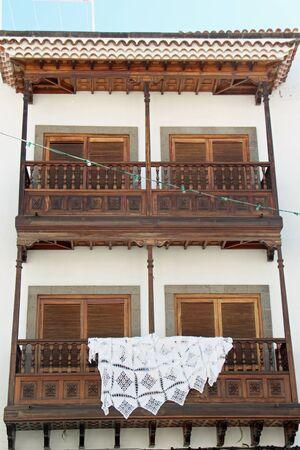 wooden balcony, Teror, Gran Canaria Reklamní fotografie - 45335295