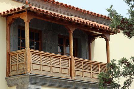 wooden balcony, Teror, Gran Canaria Reklamní fotografie - 48897791