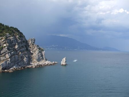 peninsula: The peninsula of Crimea. Sail Rock. after the storm