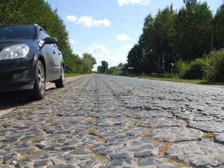 central europe: Cobblestones on Polesie swamps. Belarus. Central Europe Stock Photo