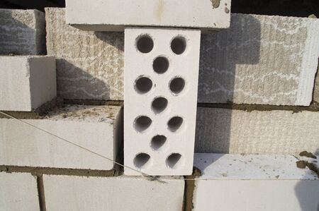 hollow: White hollow silicate brick Stock Photo