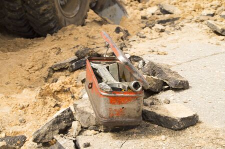 malfunction: spanners lie in a metal toolbox