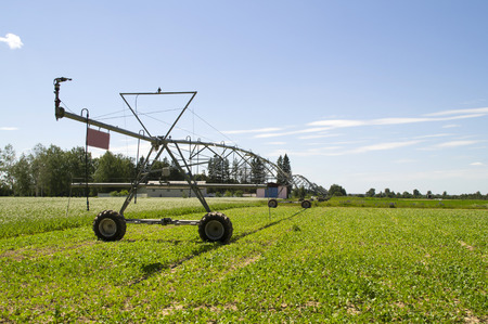 yields: Irrigation system in the field of mobile summer day Stock Photo
