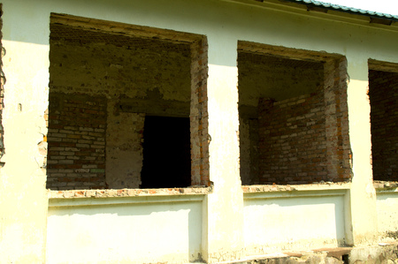 modernization: Window openings in the wall of a windowless building
