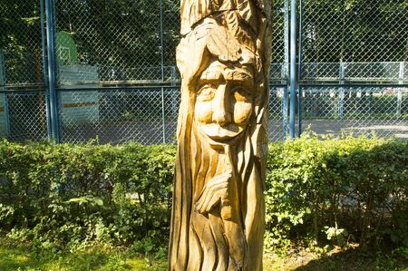 sculpture: Sculpture of the fantastic character, made from a tree trunk