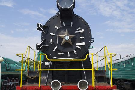 estrellas cinco puntas: La parte frontal de la estrella de cinco puntas y la vieja locomotora de vapor