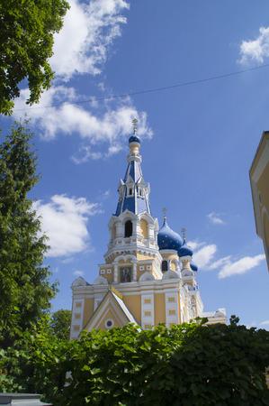 crown spire: Orthodox saints - St. Nicholas Church in the trees. Belarus