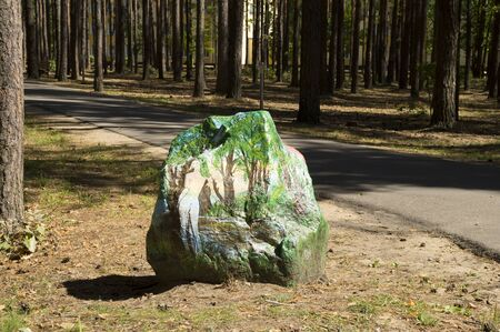 image size: Big rock in a pine forest with a nature image