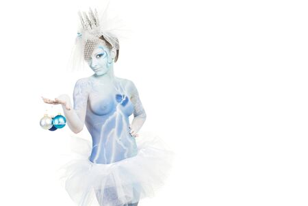 snow queen on white background photo