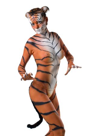 woman-tiger posing on white background photo