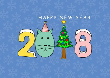 2018 word and cat , christmas tree cartoon with blue background and snowflakes