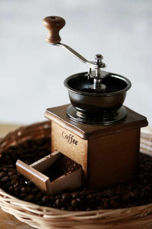 Manual coffee grinder with coffee bean and Drip Kettle Set