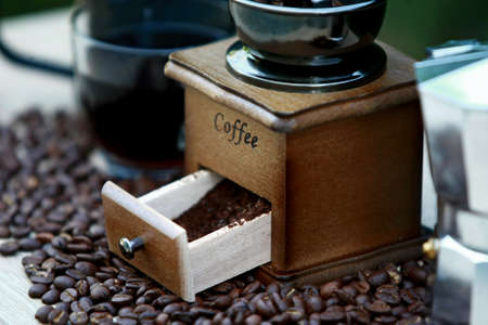 Manual coffee grinder with coffee bean and Drip Kettle Set 写真素材