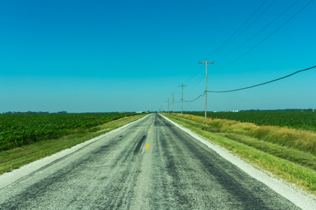 vanishing point: Long stretch into the horizon of Route 66 through green fields of Illinois