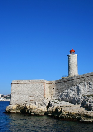 monte cristo: Lighthouse on the island of IF in Marseille in France