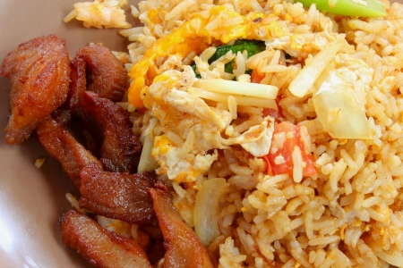 Fried rice pork, Egg fried rice with pork dishes photo