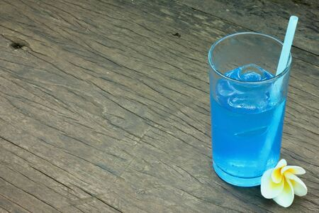 Soda drinks with blue flowers  Stock Photo