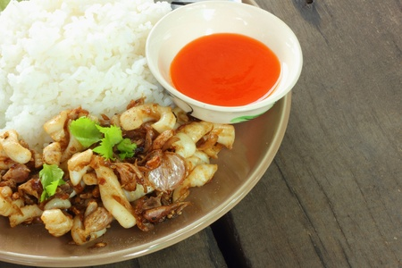 Fried squid with garlic rice with chili sauce  Stock Photo - 16553891
