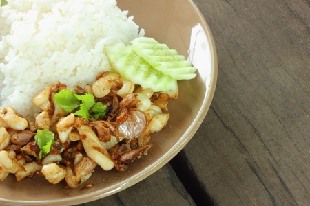 Fried squid with garlic rice and cucumber Stock Photo - 16553902