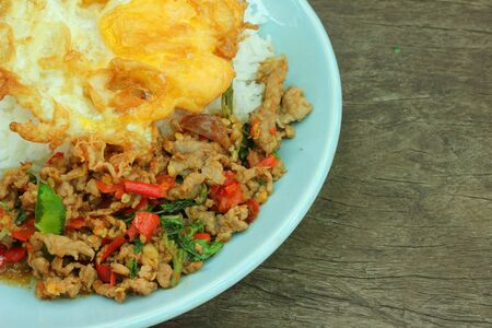 Basil Fried Rice with fried minced meat Stock Photo - 16553878