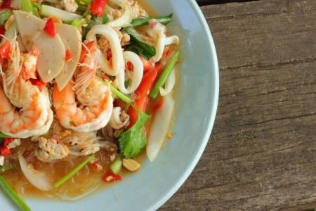 Spicy seafood noodle  Stock Photo - 16796553