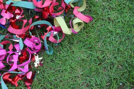 Scrap ribbon on green grass  Stock Photo - 16893793