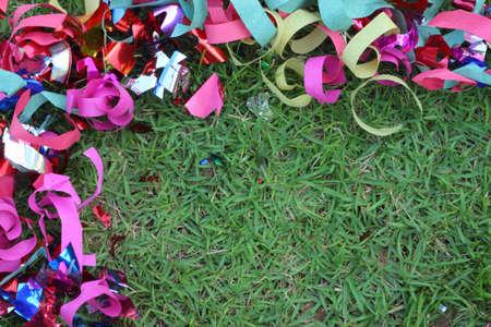 Scrap ribbon on green grass Stock Photo - 16893795