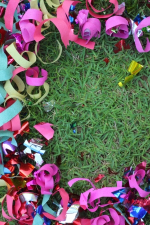 Scrap ribbon on green grass  Stock Photo - 16893792