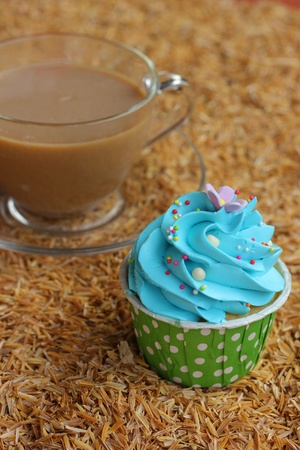 Cupcakes  and Hot coffee photo