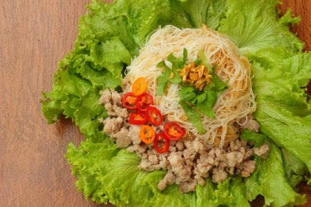 Dry noodles with pork  Stock Photo