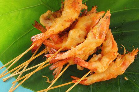 Fried shrimp skewers