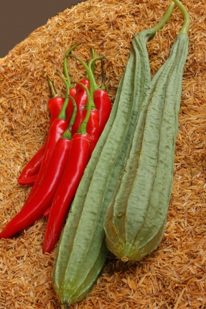 Zucchini and chili paste on the rice  Stock Photo