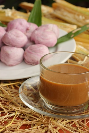 Thailand dessert with hot coffee  photo