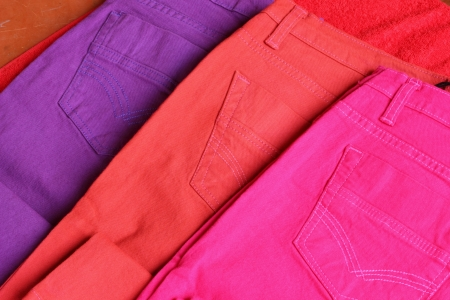 brightly colored: Brightly colored jeans