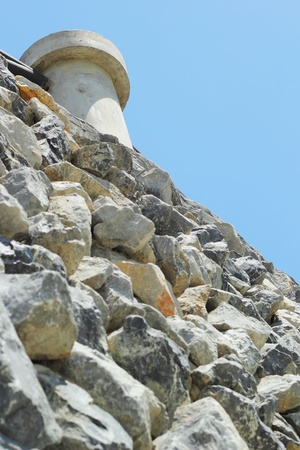 Stairs up to the stone wall. photo