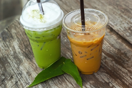 Cold green tea and Iced coffee