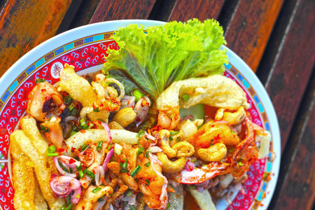 maw: Spicy mixed seafood clear maw. Stock Photo