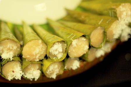 Thailand dessert - Sprinkle coconut banana bread. photo