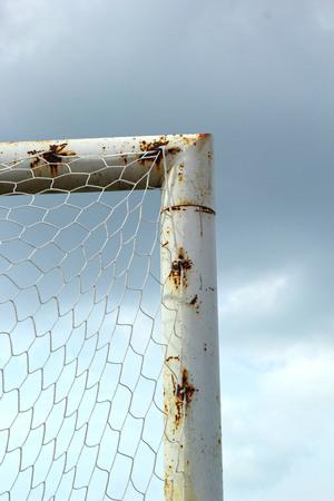 goalpost: Goal football with blue sky.