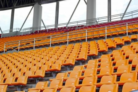 grandstand: Seat grandstand in an empty stadium.